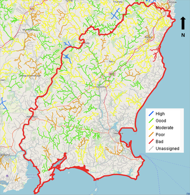 Map - WFD Water Quality Status of the river waterbodies in County Wexford